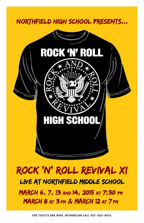 A poster of the Rock and Roll 2015 t-shirt with the old Ramones famous design.