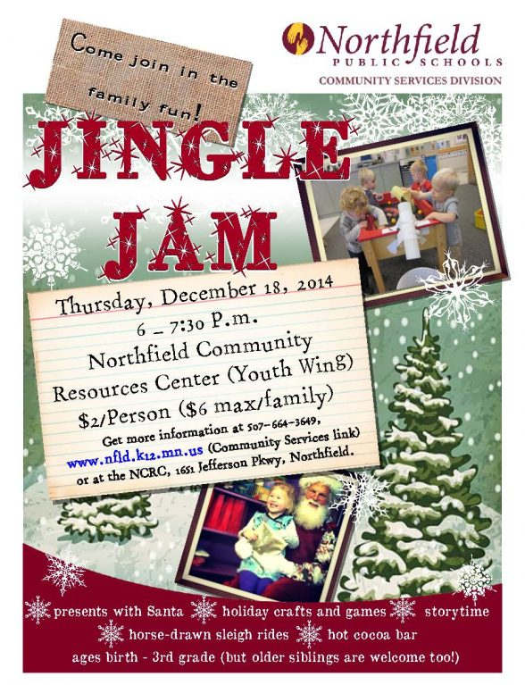 A Northfield Public Schools Community Services brochure for the Jingle Jam