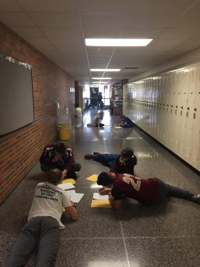 Students often spill over into hallways at Northfield High School while learning collaboration and communication skills.