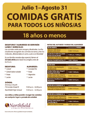 Summer Meal Location Changes - Spanish