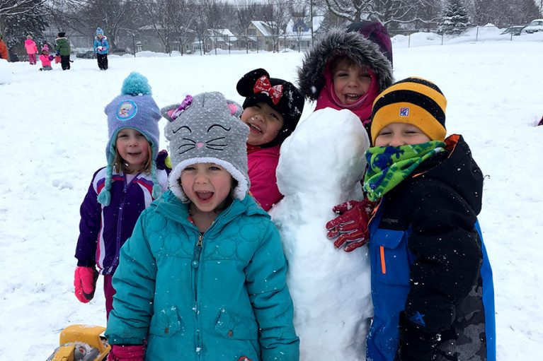 Children Playing in Snow at EarlyVentures